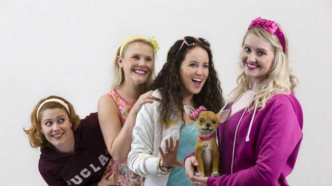 Legally Blonde stars: L-R: Tegan Garget (Serena),Tegan Devine(Margot), Maddi Twidale(Pilar), Emma McGuire (Elle Woods). Photo Kerrod Wells