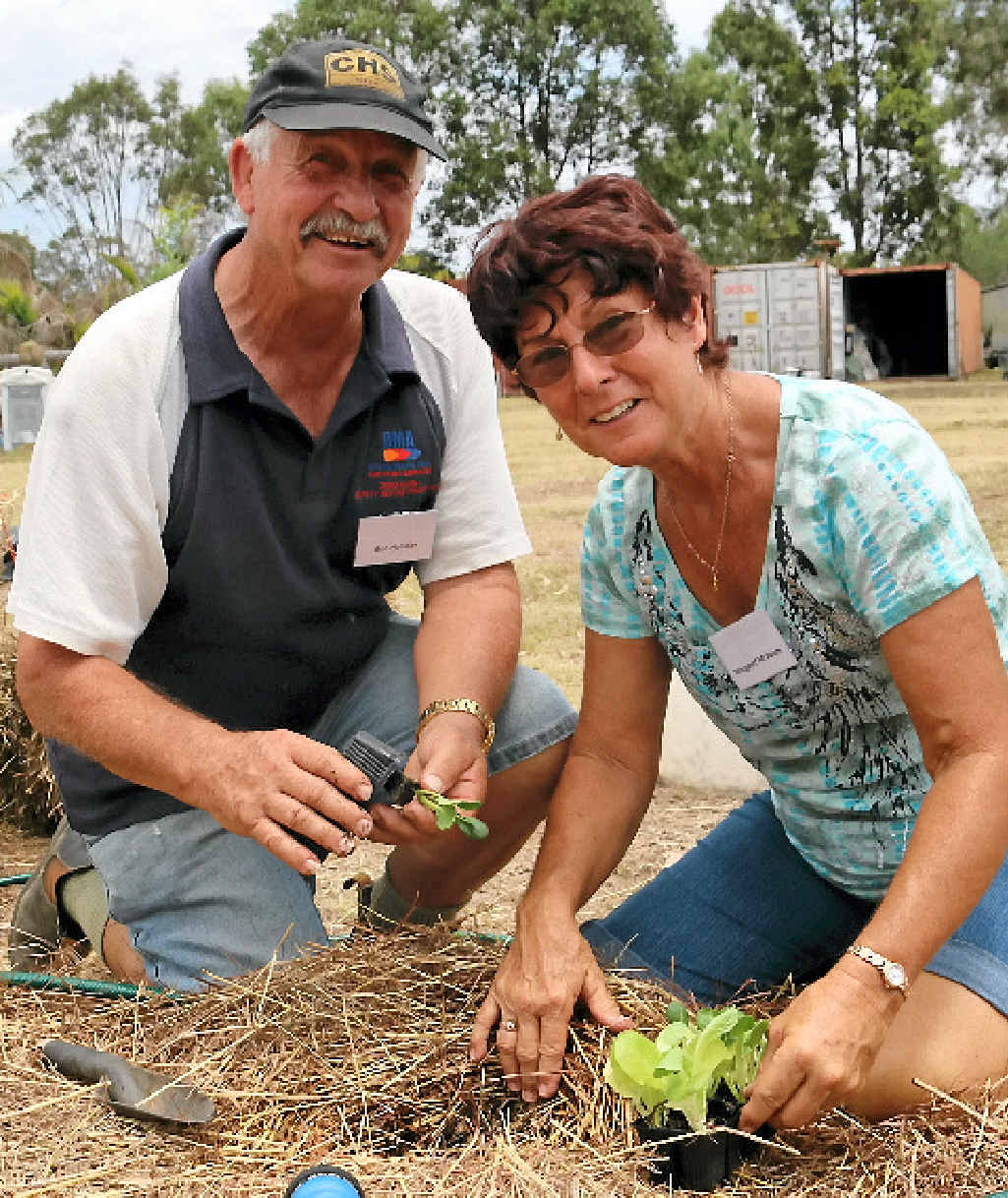 GREEN THUMBS: Bob Halliday and Margaret McAdam are keen gardeners, travelling from Bundaberg to be a part of the No Dig Calliope Garden Club workshop.