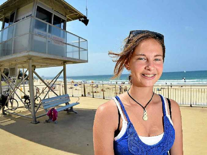 GRATEFUL: Taleah Johnson, 16, was rescued from the swell at Mooloolaba Beach on Saturday with help from a stranger.