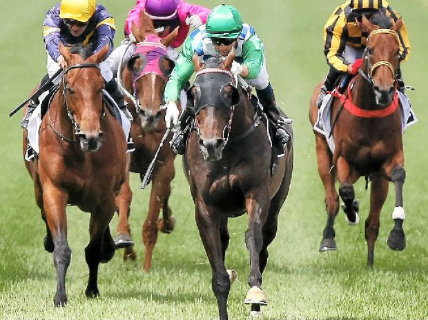 Joao Moreira riding Signoff wins the Lexus Stakes on Derby Day at Flemington on Saturday.