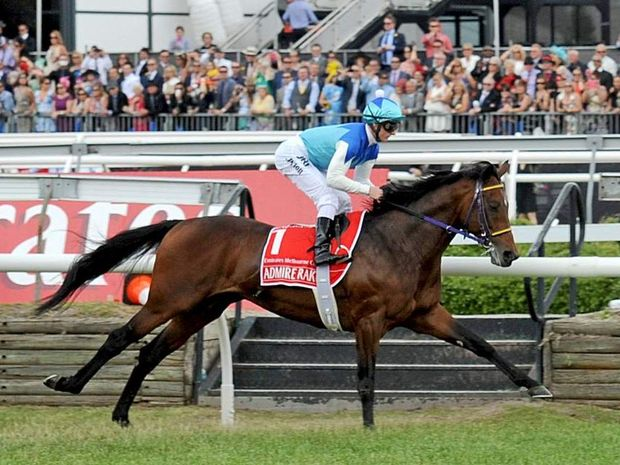 Melbourne Cup race favourite Admire Rakti dies in his stall after finishing last. (AAP Image/Joe Castro)