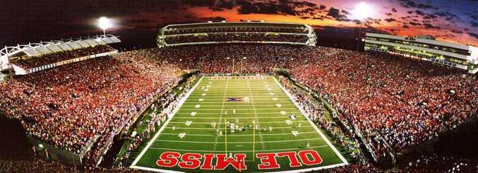 Vaught Hemingway Stadium at Ole Miss holds up to 65,000 people. Photo by Robert Jordan