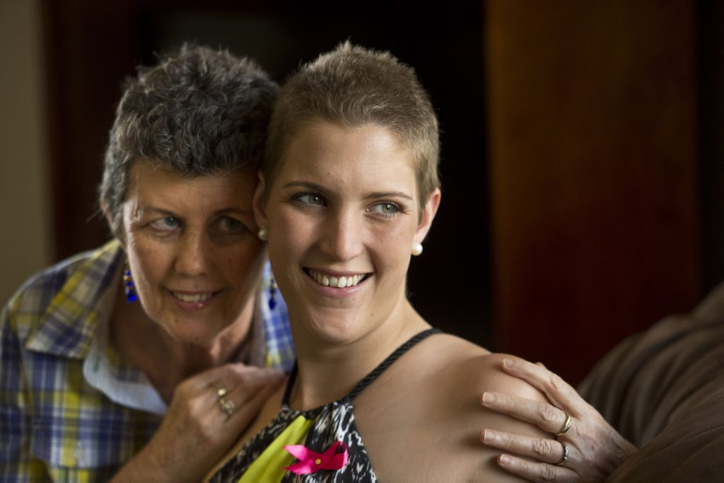 SHAVE FOR CANCER: ( from left ) Rita Finn with her niece Siobhan Reynolds who shaved her head to raise money for breast cancer . Sunday, Nov 2, 2014 . Photo Nev Madsen / The Chronicle