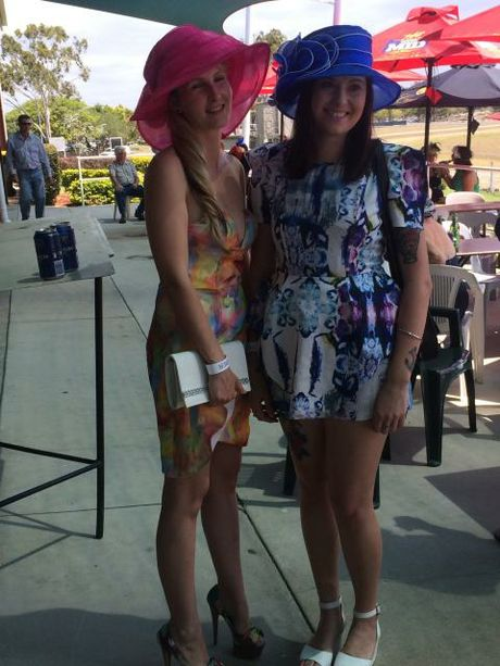 Zoe Ahern and Rose Mills at the Gladstone Turf Club for Melbourne Cup Day.