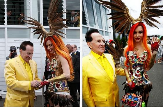 Sydney Confidential tweeted this photo of Geoffrey Edelsten after he proposed to clothing designer Gabbi Grecko at the Melbourne Cup.