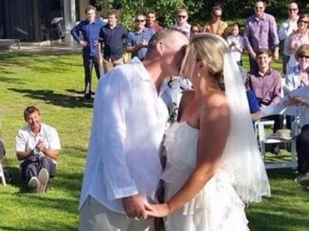Matthew and Karen Stoneley at their relaxed wedding on Heron Island.