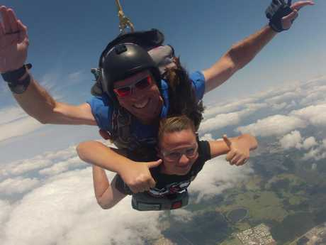 Skydive instructor Steven Fullop and Cancer survivor Nicole Wilson Photo Contributed