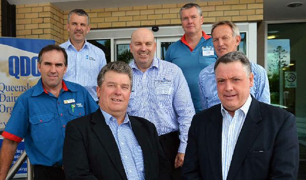 KEY SPEAKERS: (Front, from left) QDO president Brian Tessman and CEO Adrian Peake with (back, from left) Ross Hopper of Maleny Dairies, Neil Lane from Dairy Australia, Brad Granzin, Peter Falcongreen and Norco chairman Greg McNamara. PHOTOS: GREG MILLER