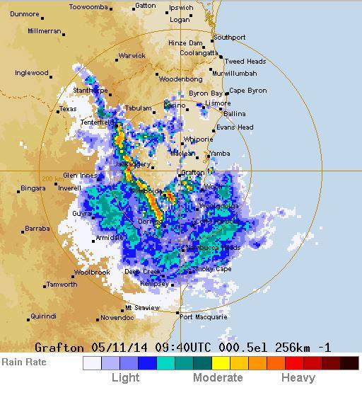 The Bureau of Meteorology's Grafton radar at 8.30pm.
