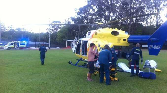 RACQ have airlifted an 18-month-old toddler with burns from hot water.