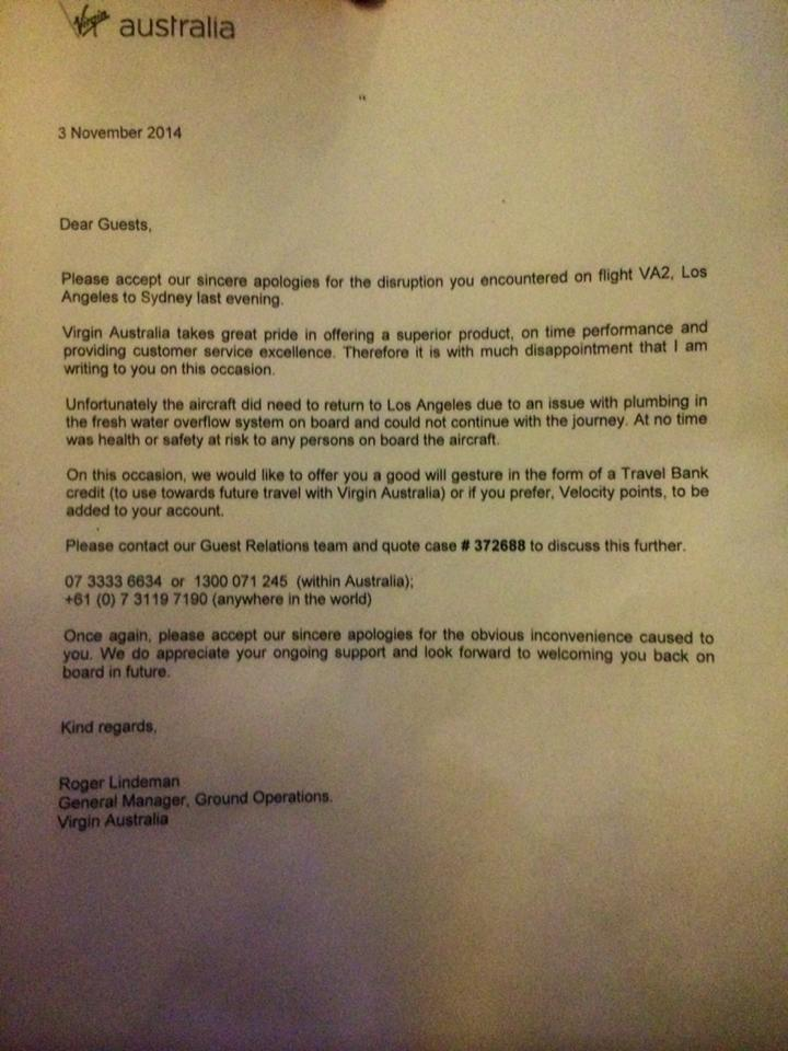Julia Malley posted a photo of the letter she received from Virgin Australia following the incident.