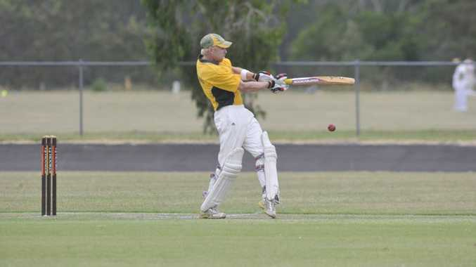 Casino batsman Sam Irvine slices the ball during a match against Byron Bay at Queen Elizabeth Park in Casino.