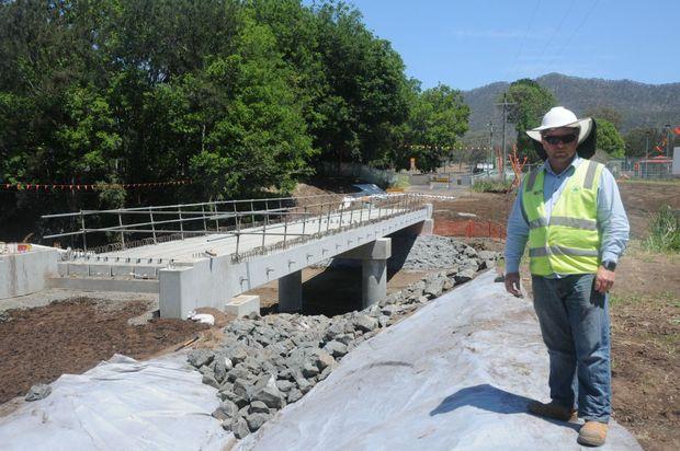 Shamrock Civil's Brett Craig oversees work on the Thornton Bridge. Photo Derek Barry / Gatton Star