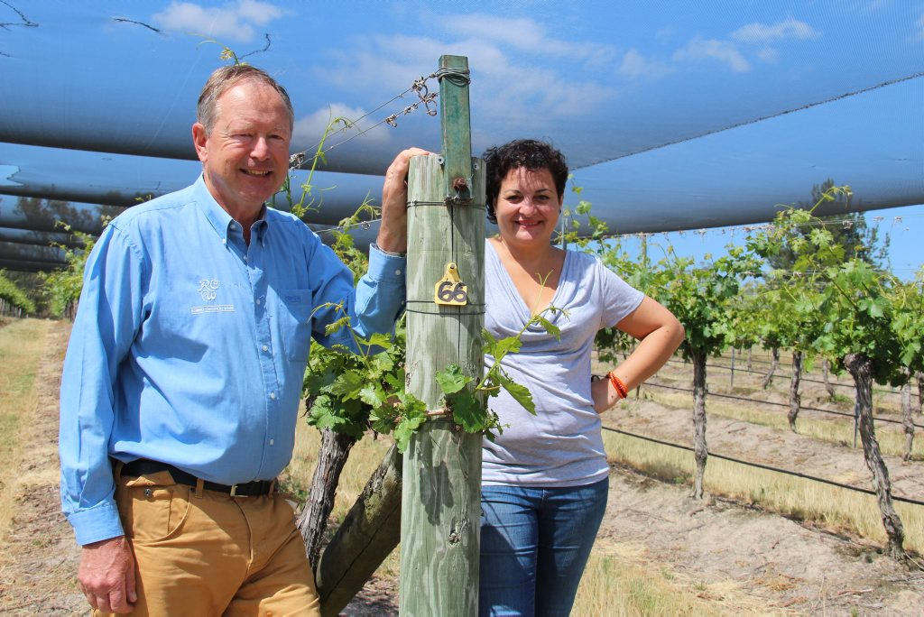 BIG PLANS: Robert Channon Wines owner Robert Channon with his new winemaker Paola Cabezas-Bono. Photo Erin Smith / Stanthorpe Border Post