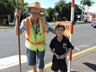 Maryborough lollipop lady Paula Bell with St Mary's Primary School year one student Nate Rosin.