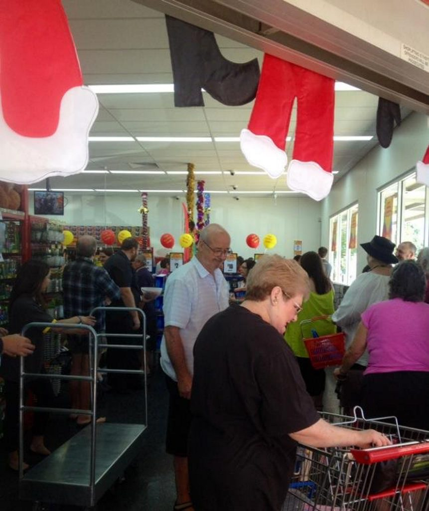 Bargain shoppers fill The Reject Shop in Maryborough as it opens its doors to the public for the first time.