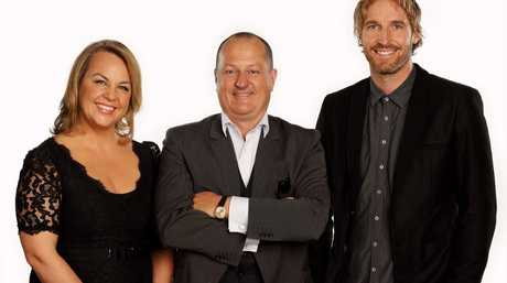 Russel Howcroft, centre, joins Recipe To Riches experts Carolyn Creswell and Darren Robertson.