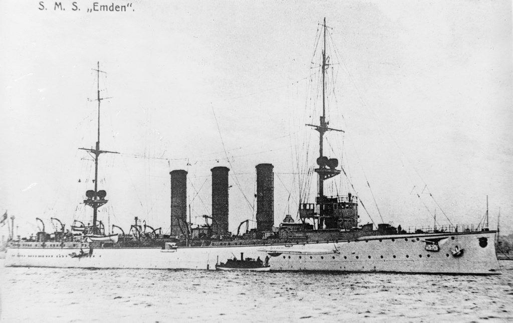 BEFORE: The German raider SMS Emden in 1914 before it encountered HMAS Sydney off the Cocos Islands. Courtesy of Australian War Memorial EN0228