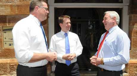 Member for Toowoomba North Trevor Watts, Attorney-General & Minister for Justice Jarrod Bleijie and Toowoomba Mayor Paul Antonio discussing development issues at a networking luncheon in Toowoomba.