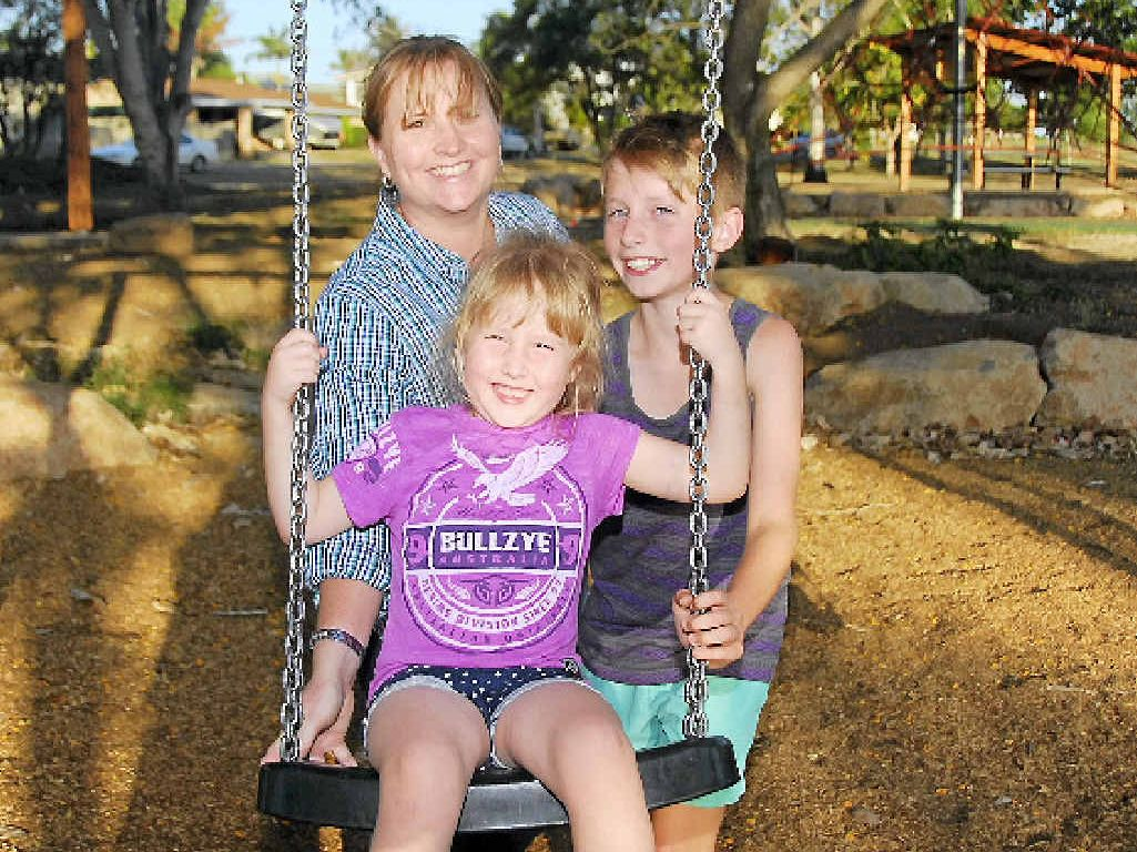 BARBIE TIME: Tina Skyring, Hollie, 5 and Jack, 11, are excited about the Bunting Park project. They can't wait for the barbecues to be built, which they will use for Hollie's sixth birthday party in January.