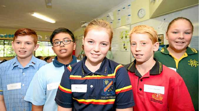 FACING CHALLENGES: Nelson Schneider, Adrian Lucido, Charlie Jones, Connor Blomfield and Annaleise Ramm gather to chat about starting Year 7 at The Cathedral College.