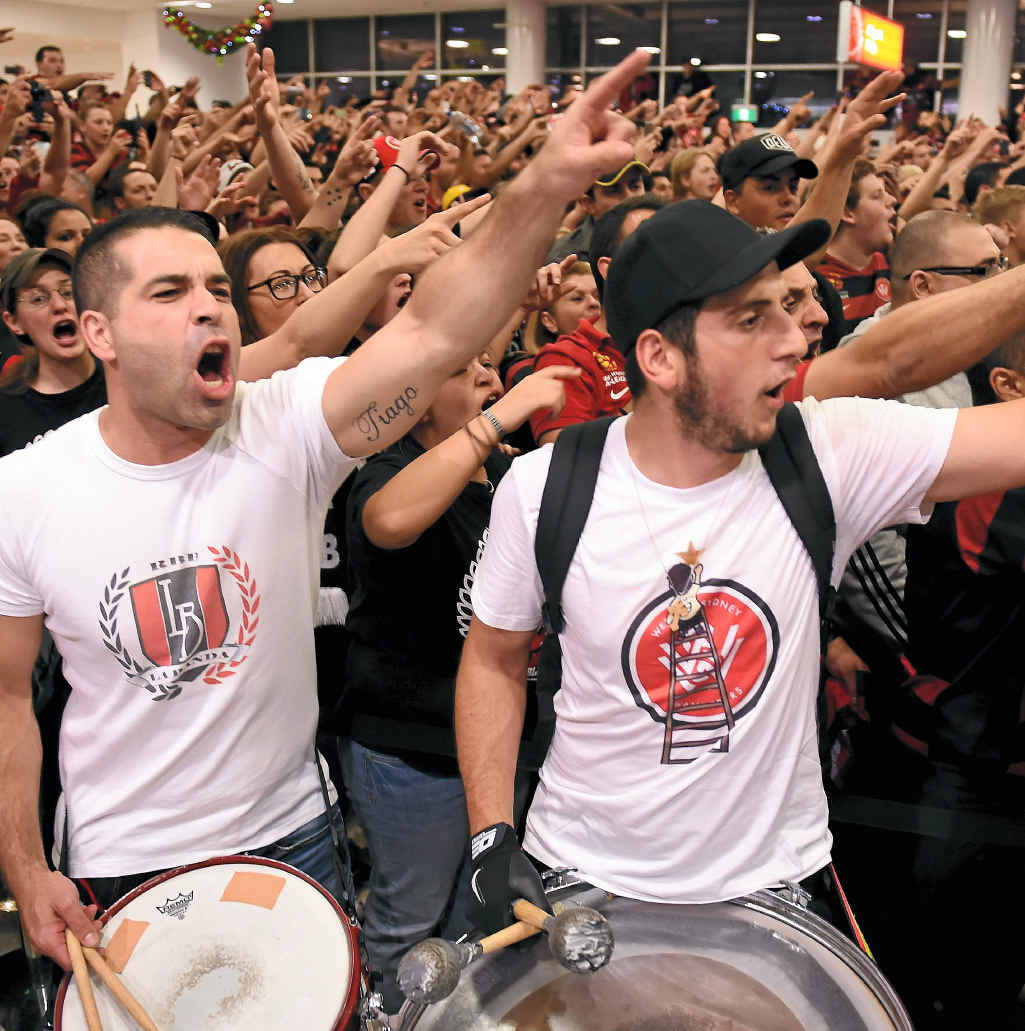 Wanderers fans at Sydney Airport.
