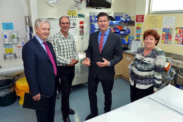 HEALTHY STATS: Sunshine Coast Hospital chairman Paul Thomas, Gympie Hospital Dr Frank Le Bacq and director of Gympie health services Leuwin Ferguson (right) show Minister for Health Lawrence Springborg (second from right) around the ED after it was named one of the state's best performers. Greg Miller