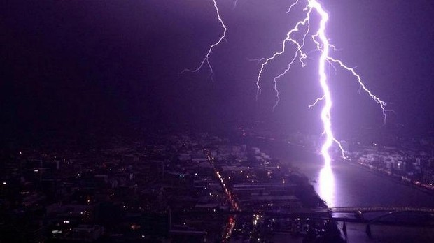 Lightning over Toowong as seen from the Meriton in Herschel St. Photo: Lanair Smith/Facebook