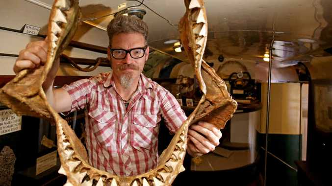 BIG BITE: Paul Sharp looks through a great white shark's jaws from his mobile shark museum, currently located next to Chinderah Bay Antiques.