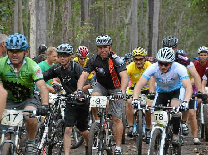 Mountain bike riders flock to the Bom Bom State Forest for the G-Bomb. More than 250 will be here for today's racing.