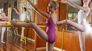 Ballet dancers Jacqueline Samms and Lily Kate Folpp training at Susan Whiteman's dance studio in Alstonville.