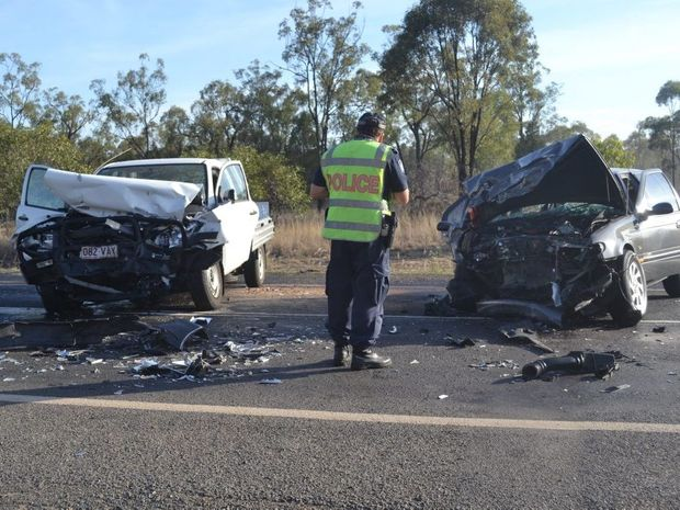 Head on collision west of Chinchilla. Photo Chris Honnery / Chinchilla News