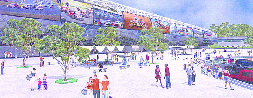 An artist's impression of a proposed multi-use motor sports park.