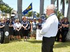 RALLY: Services Union secretary Neil Henderson addresses about 100 concerned staff.