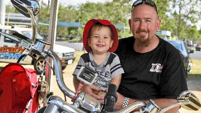 Brett Alloway with his son Seth enjoying the All-Bike meet at Benaraby Raceway.