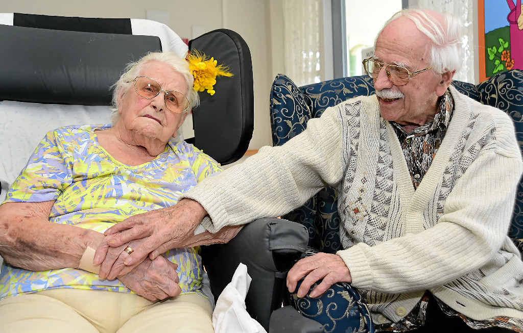 NEXT MILESTONE: Eric Parsons celebrates his 101st birthday at Bli Bli, alongside wife of 77 years, Violet.