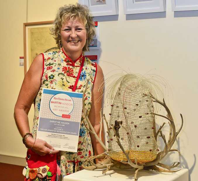 Christine Holden received second place for her work Out on a Limb at the Rio Tinton Alcan Martin Hanson Memorial Art Awards.