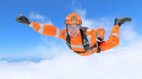Normally SES volunteers are a well-grounded, but this fellow has taken to the skies to promote WOW day and its support of emergency volunteers. Photo Contributed