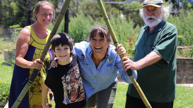 GREEN THUMBS: Angela Wallace, Nicole and Kaiden Larkin and John Walsh at the Coffs Regional Community Garden for the open day held as part of the Sustainable Living Festival. Photos: Gemima Harvey