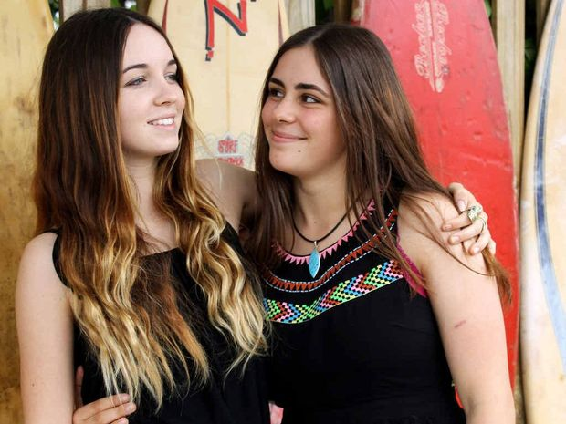 ON A HIGH: Mullum Music Festival Director's Pick mentorship winner Megan Donnelly and Singer/Songwriter mentorship winner Lucy Beverley at the Poinciana Cafe, Mullumbimby.