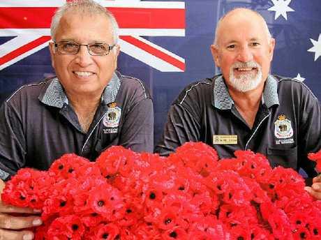 REMEMBRANCE DAY: Royal Australian Air Force veteran and Maroochy RSL volunteer Grendell Antony with Maroochy RSL president Michael Liddelow.
