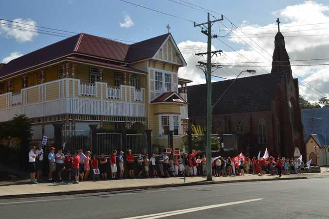 Teachers were on strike Monday morning. Wharf St, Murwillumbah.