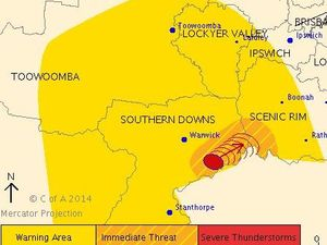 Severe thunderstorm warning for Darling Downs, Granite Belt