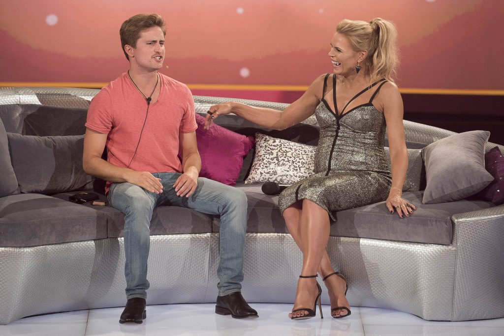 Big Brother evictee Richard Hordern-Gibbings with host Sonia Kruger.