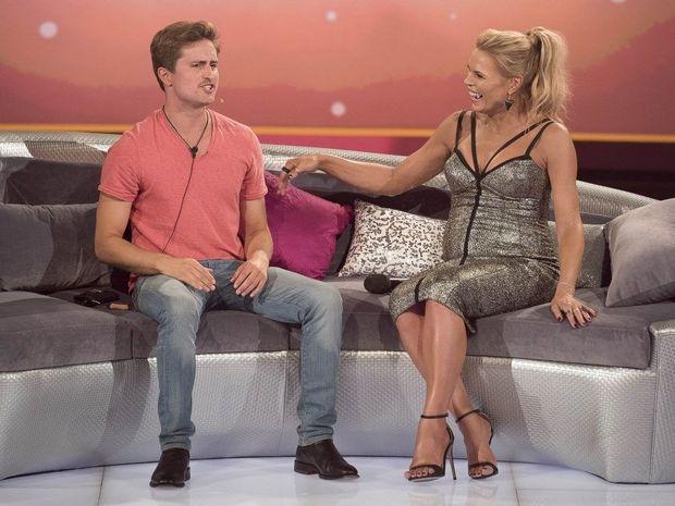 Big Brother evictee Richard Hordern-Gibbings with host Sonia Kruger.