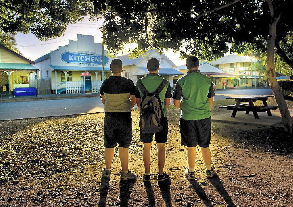 SUN SETS ON STREET PROBLEMS: Miriam Vale teenagers Brad Russell, Lachlan Lavia and Jacob Crasti.