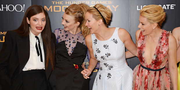 Lorde, Natalie Dormer, Jennifer Lawrence and Elizabeth Banks. Photo / Dave M. Benett (Getty Images)