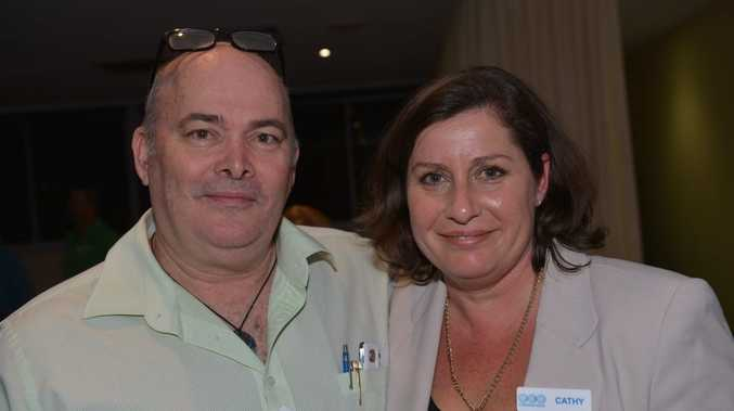 Paul Kerr and Cathy Haley at Maroochydore Surf Club a Technology Expo hosted by Eco Communications. Photo: John McCutcheon / Sunshine Coast Daily