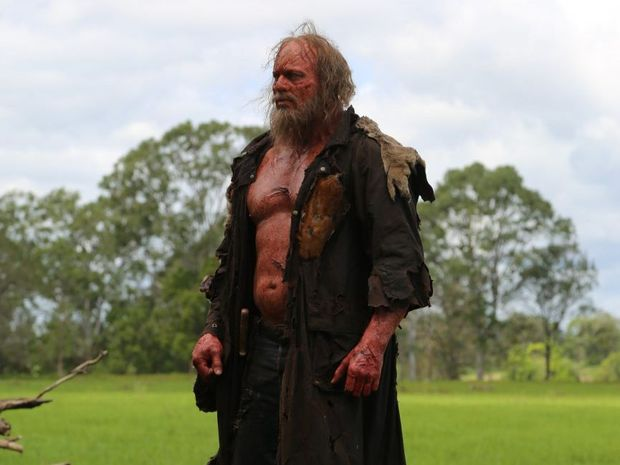 Nathan Jones in a scene from the Aussie horror movie Charlie's Farm.