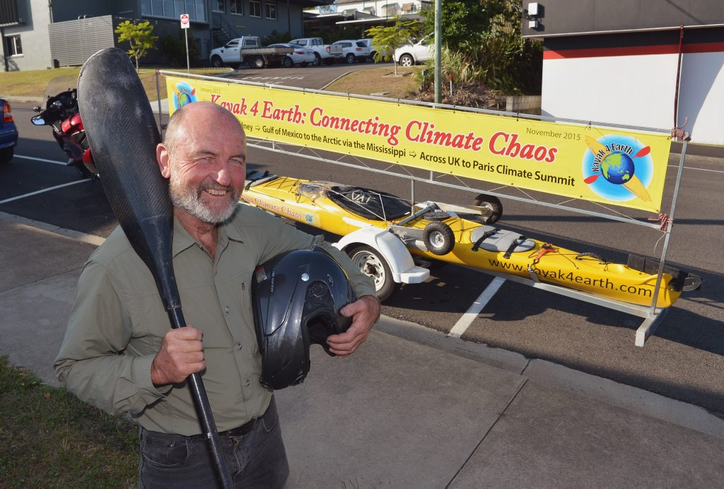 "Image for sale: Steve Posselt with his adventure kayak called ""Kayak 4 Earth: Connecting Climate Chaos. Photo: Greg Miller / Gympie Times"